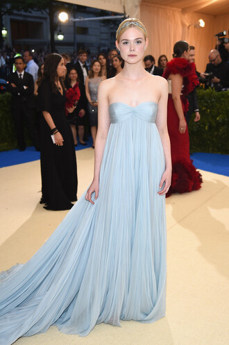 dress long dress maxi dress elle fanning met gala met gala 2017 bustier dress prom dress gown pleated