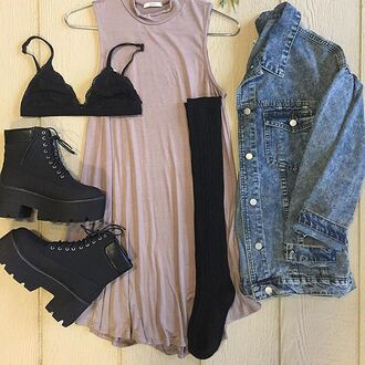 dress divergence clothing nude dress tshirt dress denim jacket grunge 90s style vintage style shirt dress t-shirt dress tumblr shirt grunge t-shirt bralette bra lace bralette black lace bustier black lace bralette oversized t-shirt blue denim oversized jacket