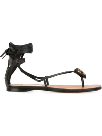 metal women sandals leather black shoes