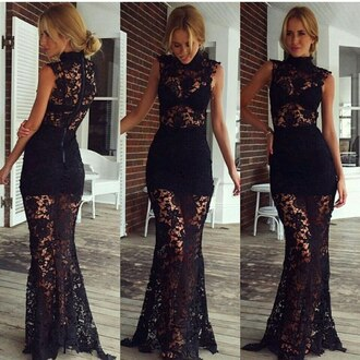 dress lace dress black dress black lace evening dress maxi dress
