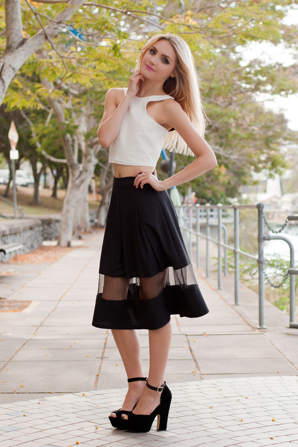 skirt black black skirt sheer panel sheer panel skirt pleated skirt shopfashionavenue