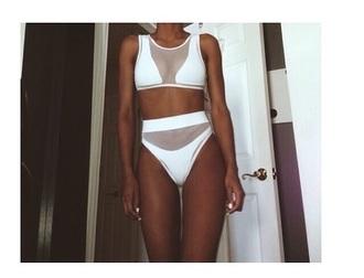 swimwear white swimwear mesh bikini mesh swimwear