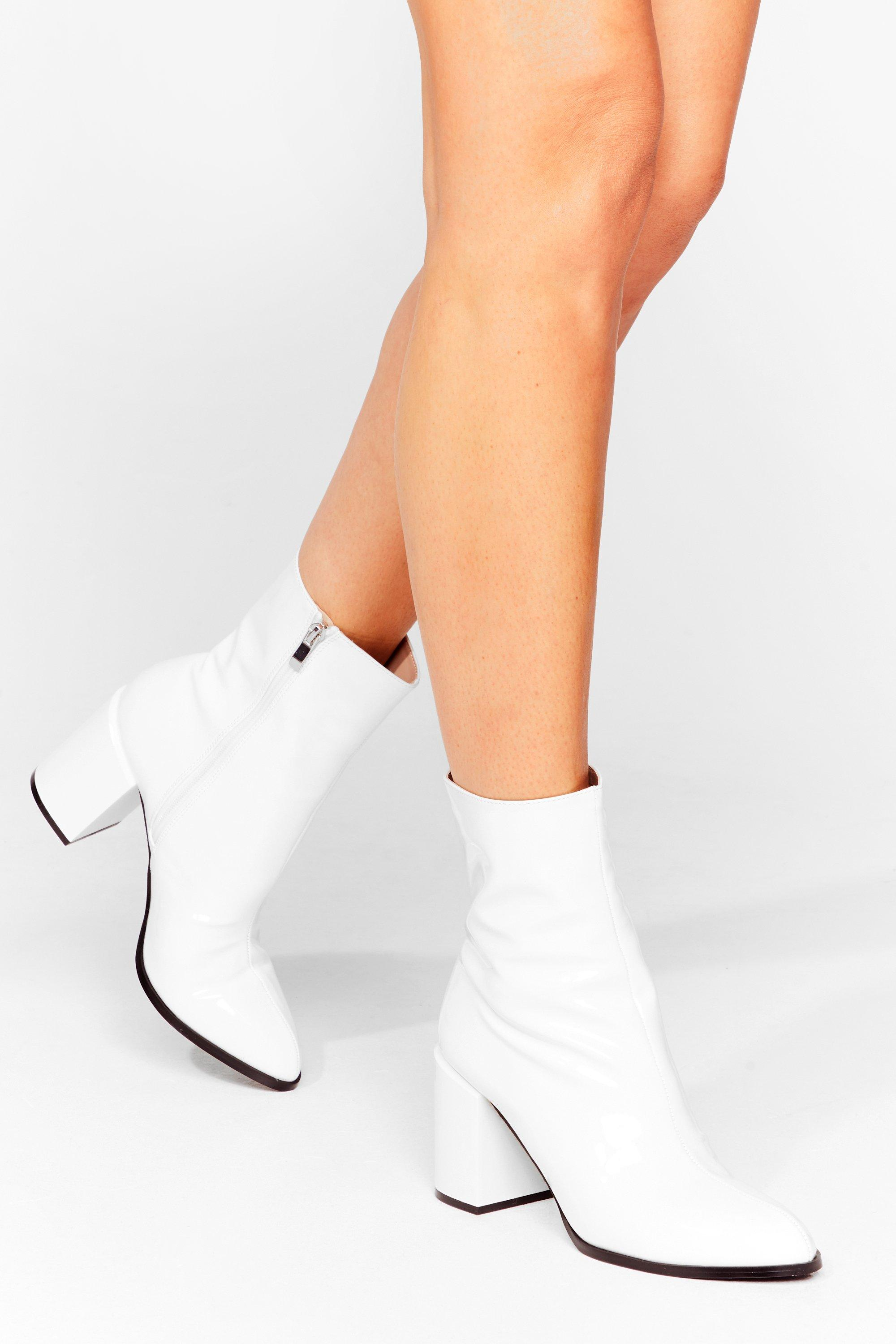 Toe to Toe Patent Heeled Boots | Nasty Gal