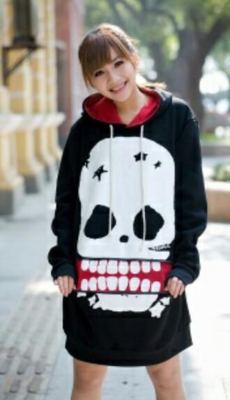 sweater skull skull sweater black and white red sweater black sweater