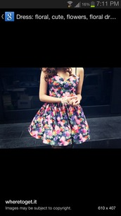 dress,floral,puffy dress,strapeless