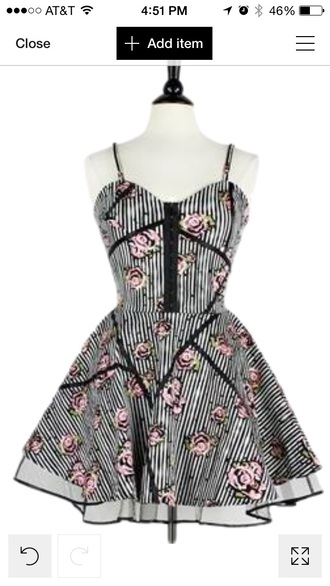 dress black dress black and white dress white dress roses striped dress stripes pink pink dress girly dress girly alternative alternative dress edgy pretty