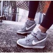 shoes,grey,wedges,sneakers,nike high tops,jordan wedges