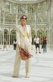top,yellow top,blazer,pants,wide-leg pants,sunglasses,shoes