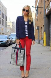 jeans,red jeans,denim,blazer,blue blazer,top,striped top,gucci,sunglasses,black sunglasses,pumps,pointed toe pumps,blogger,blue white red outfit