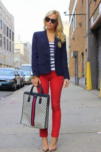 jeans red jeans denim blazer blue blazer top striped top gucci sunglasses black sunglasses pumps pointed toe pumps blogger blue white red outfit