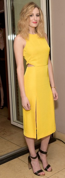 shoes laura carmichael heels dress downton abbey yellow dress