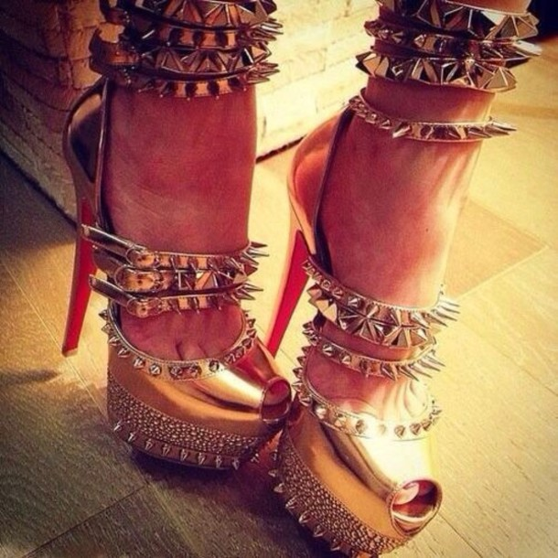 Shoes: high heels, spikes, red bottoms, heels, gold - Wheretoget