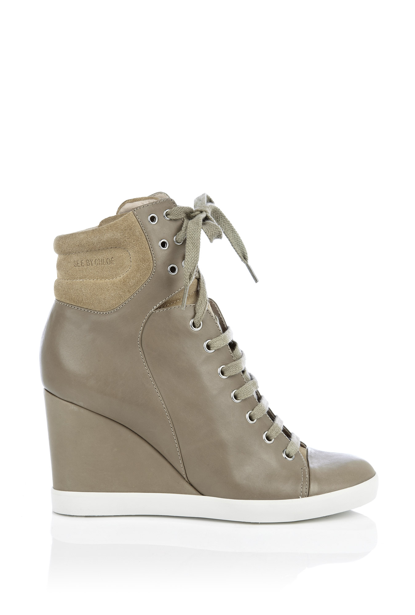 Beige leather & velour wedge trainer by see by chloe shoes