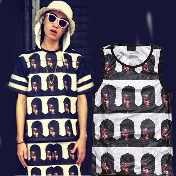 tank top unisex boy supreme black white face faces repeat