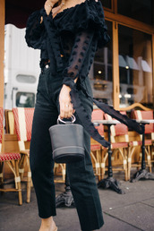 bag,tumblr,black bag,jeans,black jeans,shirt,black shirt,polka dots,off the shoulder,off the shoulder top,ruffle,ruffled top,all black everything,date outfit,mini bag