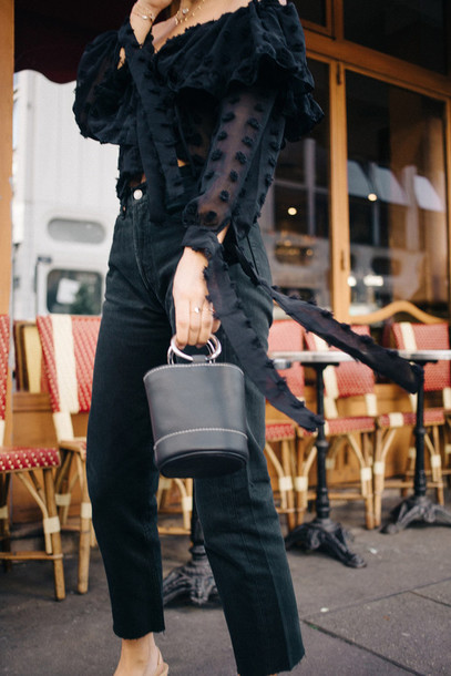bag tumblr black bag jeans black jeans shirt black shirt polka dots off the shoulder off the shoulder top ruffle ruffled top all black everything date outfit mini bag