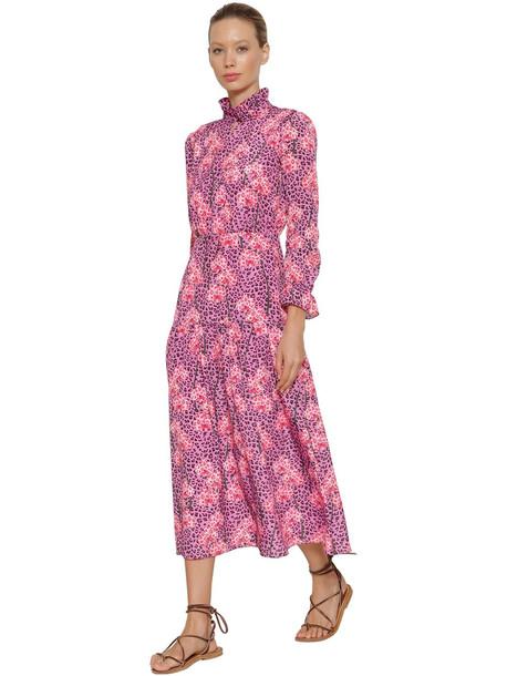 BORGO DE NOR Eugenia Leopard Orchid Print Crepe Dress in pink / fuchsia