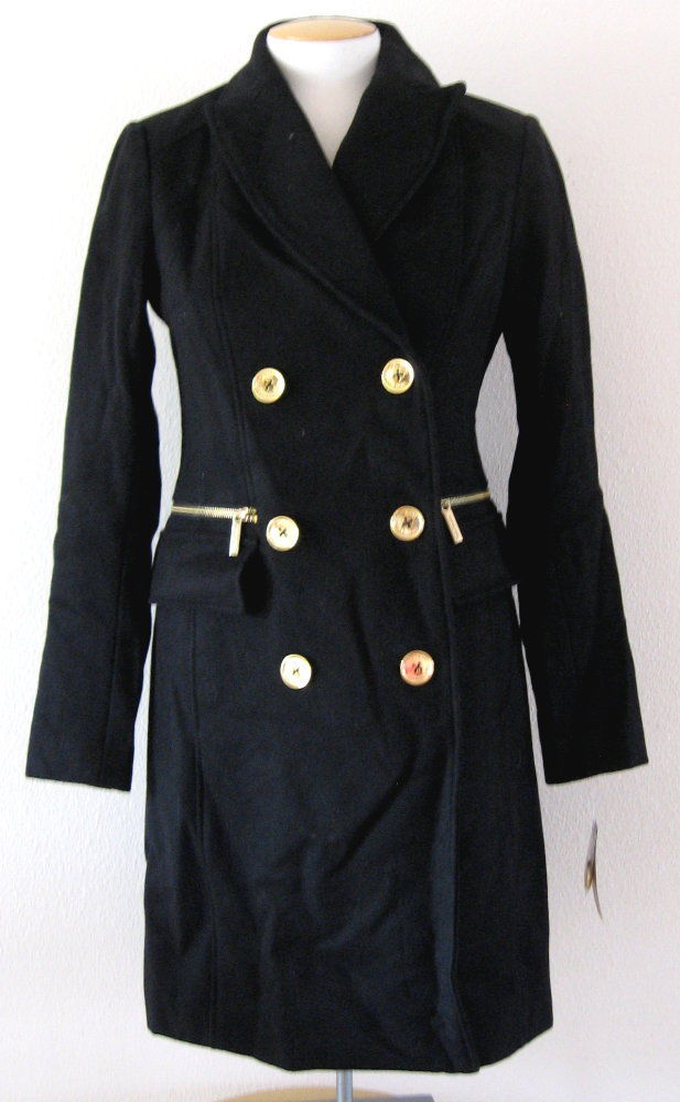Michael Kors Womens Double Breasted Black Wool Trench Coat Gold Buttons $375 | eBay