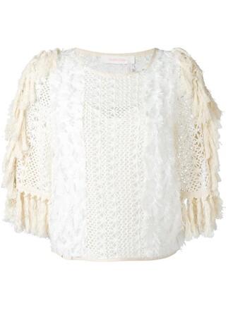 top knit open women white cotton
