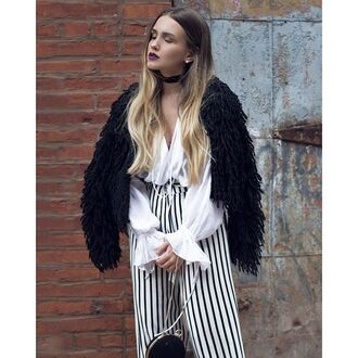 pants tumblr black coat fuzzy coat fuzzy jacket shirt blouse white blouse bell sleeves ruffle striped pants stripes