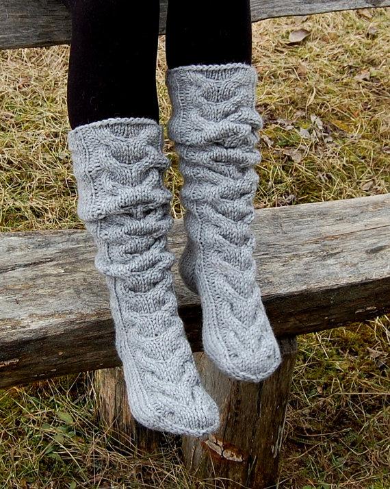 Hand Knit Slipper Socks Knitted Wool Socks Knitted Slippers Socks