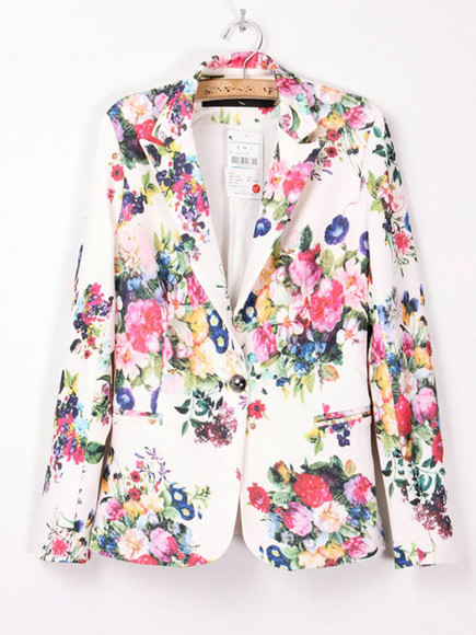 floral jacket jacker spring fashion suit vintage fashion little black dress