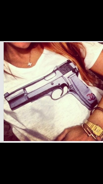 shirt gun chanel t-shirt tshirt. tshirt design