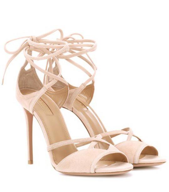 Aquazzura sandals suede pink shoes