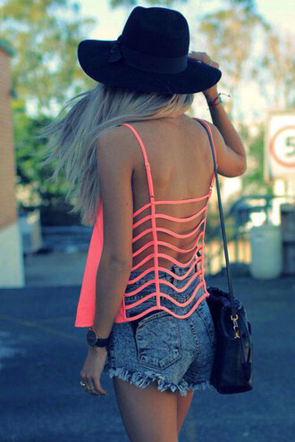 shirt boooty shorts see through shirt top hollow out top cut out coral fluro coral backless top pink love pink summer outfit summer outfits tumblr croped hipster