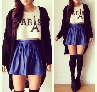 skirt blue shiny blue skirt t-shirt paris white crop tops