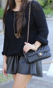 skirt,leather skirt,black jumper,cable knit,chanel bag,sweater,bag