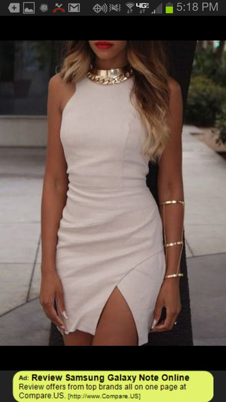 dress nude dress beige gold chain
