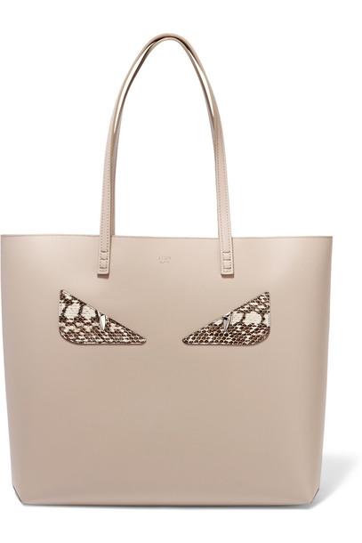 Fendi leather taupe bag