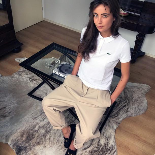 mode d'amour blogger shirt pants shoes lacoste