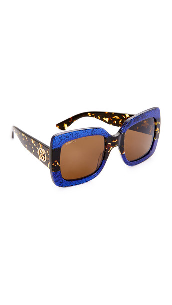63581d30359 gucci Gucci Square Urban Web Block Sunglasses - Glitter Blue Brown