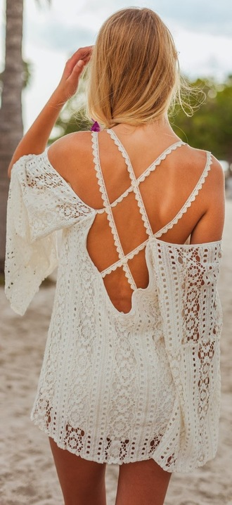 dress crochet mini dress lace dress open back dresses white dress boho dress boho summer dress spets openback cute summer boho chic bohemian hippie festival style spring outfits cream dress open back blouse lace top ivory vintage lace white lacedress crochet top white lace shift dress off the shoudler boho shirt beach dress beach