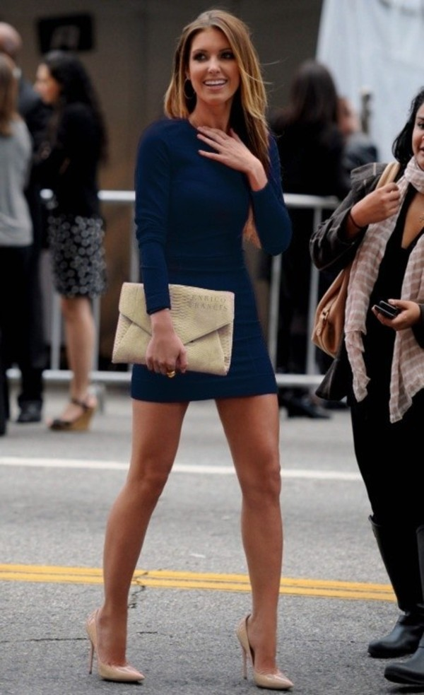 dress audrina patridge celebrity style navy dress bodycon dress shoes bag