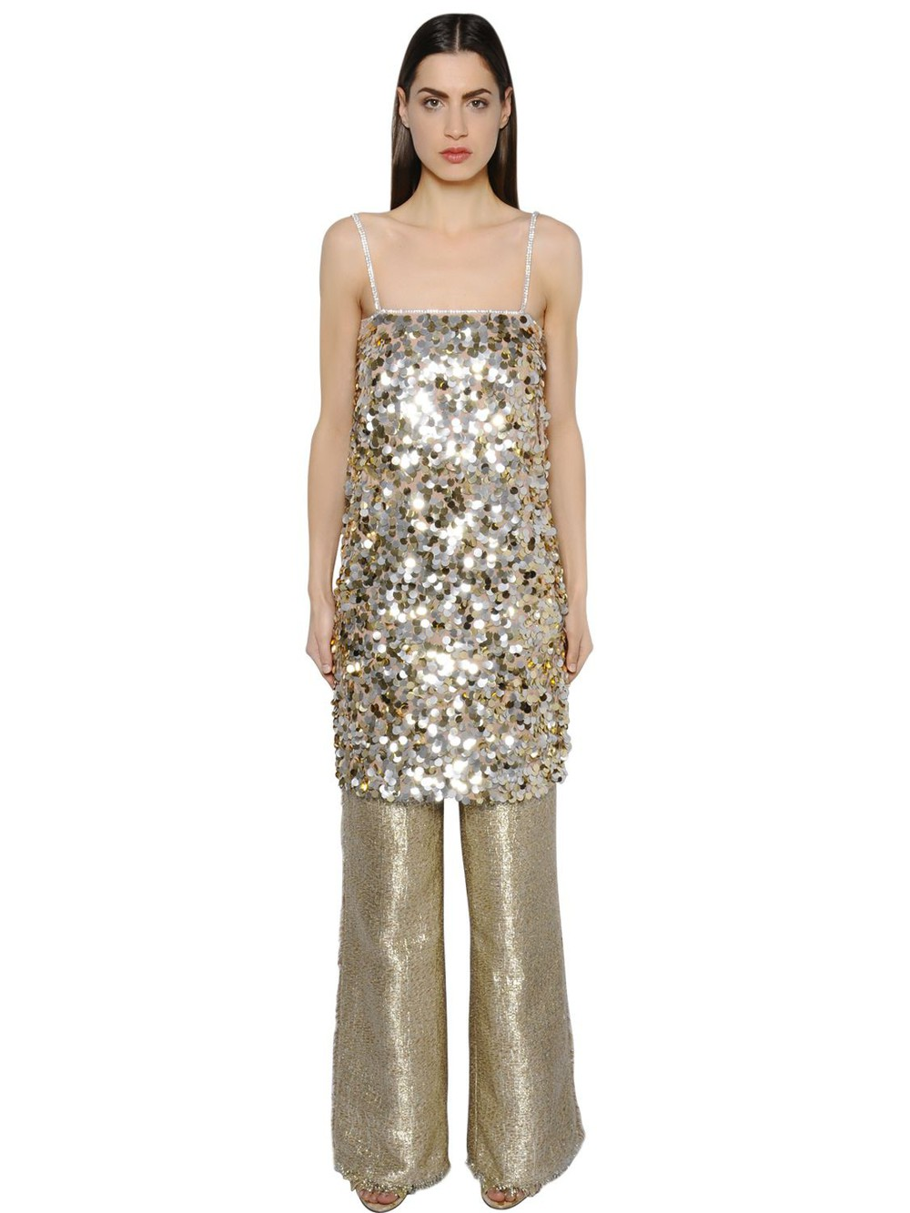 GIANLUCA CAPANNOLO Sequined Crepe Tunic Dress in gold / silver