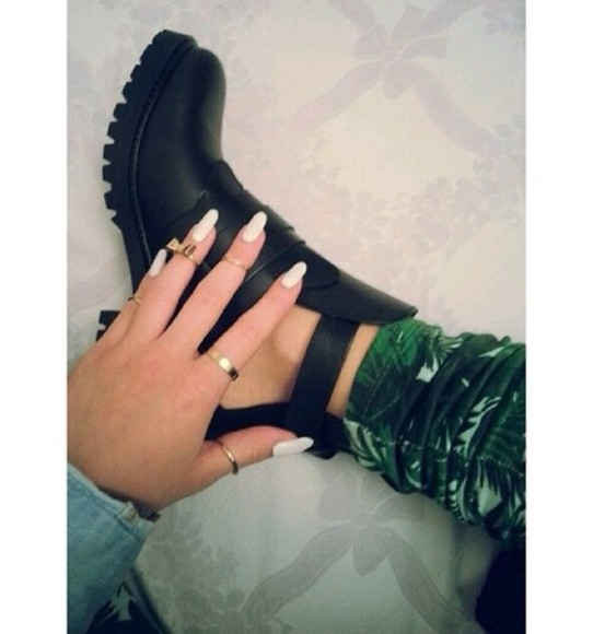 shoes black ankle boots grunge pants palm tree print