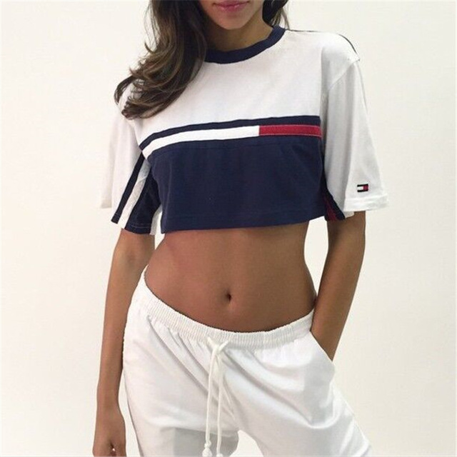 Aliexpress.com : Buy 2016 New Summer Women T Shirts Tops Fashion Patchwork Stripe Print Three Color Short Sleeve Cotton T shirt Female from Reliable t-shirt outlet suppliers on Fashion Sunlight