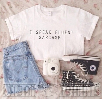 t-shirt emo i speak fluent sarcasm fashion cropped crop crop tops cool hipster