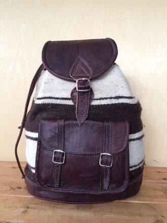 bag leather and wool backpack hipster backpack rucksack ethnic backpack ethnic rucksack wool and leather backpack fabric and leather man bag boho boho chic boho chic bag ethnic