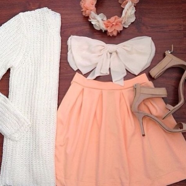shirt bow ❤️ shoes tank top skirt cardigan sweet lovely