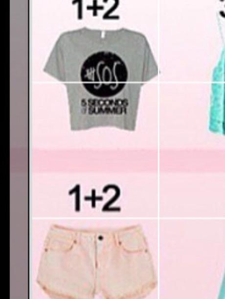 shirt 5sos crop top grey top