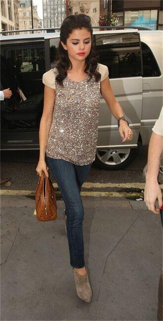 blouse sparkle jeans booties top glitter selena gomez
