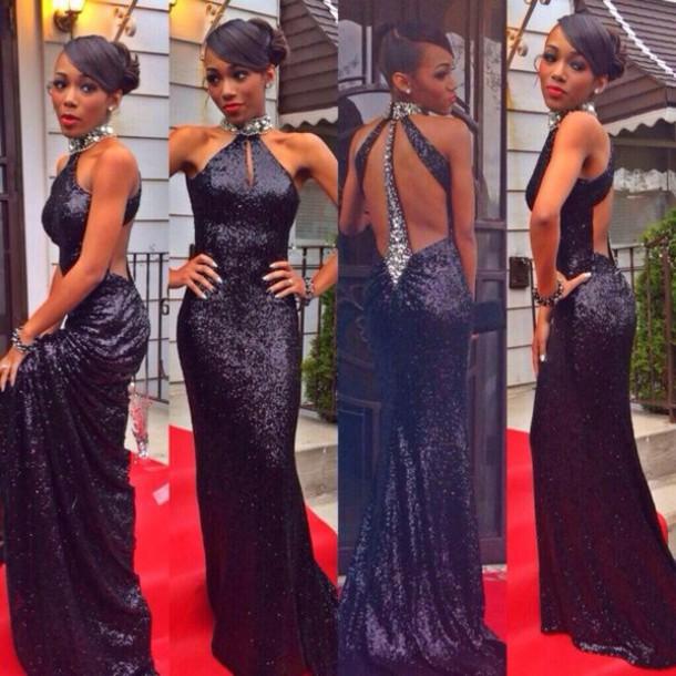 mermaid evening dress, open back evening dress, black