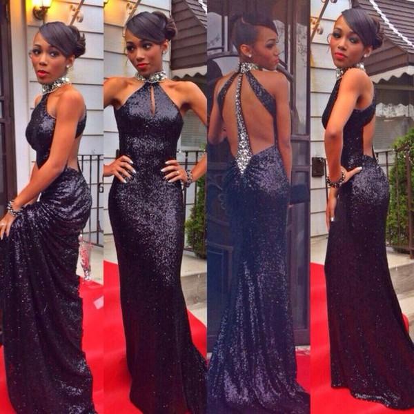 mermaid evening dress open back evening dress black sequin dress red carpet prom dress