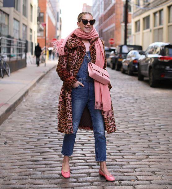 jumpsuit denim jumpsuit faux fur leopard print ballet flats chanel bag pink bag scarf