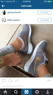 shoes,ke,grey,brown,white,nike,tick,trainers,nike running shoes,nike shoes,black shoes,gold,sportswear,running,nike air