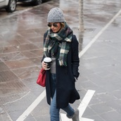 ms treinta,blogger,hat,scarf,gloves,sweater,coat,bag,beanie,winter outfits,red bag,black coat